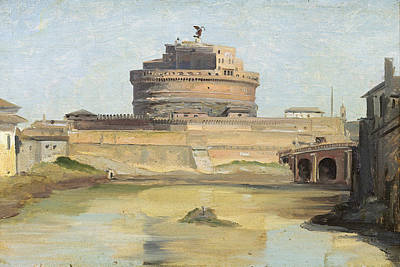 Chateau Photograph - The Castle Of St. Angelo, Rome Oil On Canvas by Jean Baptiste Camille Corot