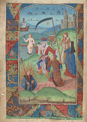 Gods And Goddesses Photograph - The Castration Of Saturn by British Library