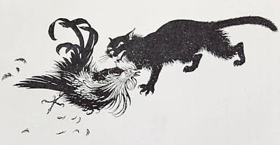 Black And White Birds Painting - The Cat And The Cock by Arthur Rackham