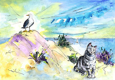 Seagull Drawing - The Cat And The Seagull by Miki De Goodaboom