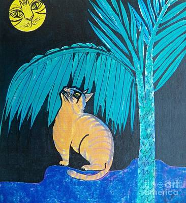 Cat And Moon Painting - The Cat In The Moon by Judy Via-Wolff