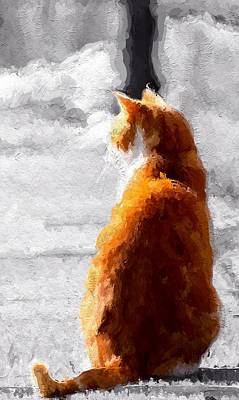 Redhead Mixed Media - The Cat by Stefan Kuhn