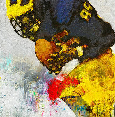 University Of Michigan Painting - The Catch The Hands by John Farr
