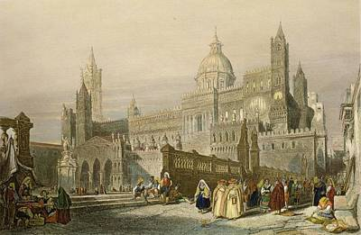 Street Drawing - The Cathedral At Palermo, Sicily by William Leighton Leitch