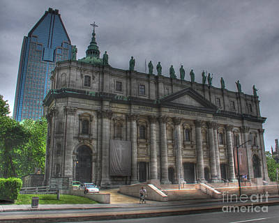Montreal Landmarks Photograph - The Cathedral-basilica Of Mary Queen Of The World In Montreal Quebec by Lee Dos Santos