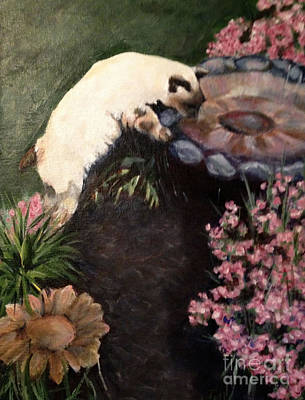 Painting - The Cats In The Garden by Janet Felts