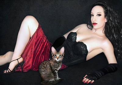The Cat's Meow - Self Portrait W/mikino Print by Jaeda DeWalt