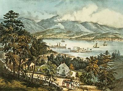 Mountain Drawing - The Catskill Mountains From The Eastern Shore Of The Hudson by Currier and Ives