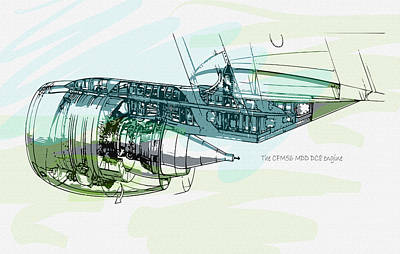 The Cfm56 Mdd Dc8 Engine Detail Original by Don Kuing