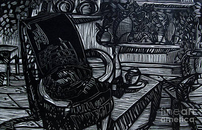 Lino Drawing - The Chair Of My Dreams by Charlie Spear