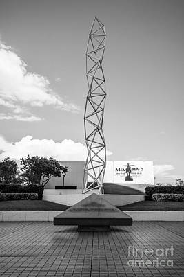 The Challenger Memorial - Bayfront Park - Miami - Black And White Print by Ian Monk