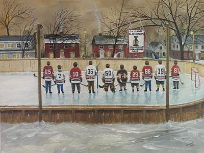 Hockey Players Painting - The Champs - 2013 Stanley Cup  by Ron  Genest