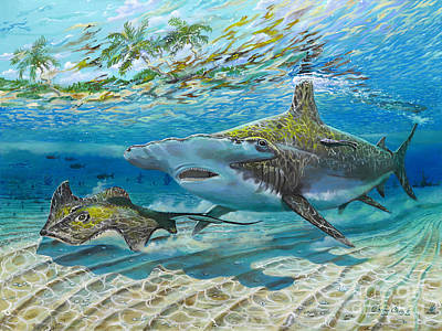 Reef Shark Painting - The Chase by Carey Chen