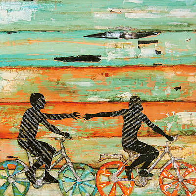 Bicycle Art Painting - The Chase by Danny Phillips