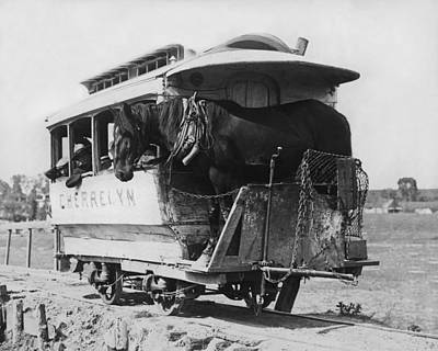 Land Feature Photograph - The Cherrelyn Horse Car by Underwood Archives