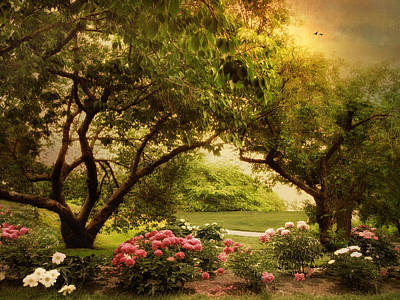 Garden Flowers Digital Art - The Cherry Orchard by Jessica Jenney
