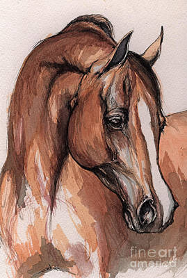 The Chestnut Arabian Horse 3 Print by Angel  Tarantella