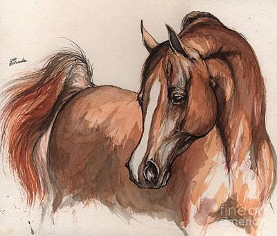 The Chestnut Arabian Horse 6 Print by Angel  Tarantella