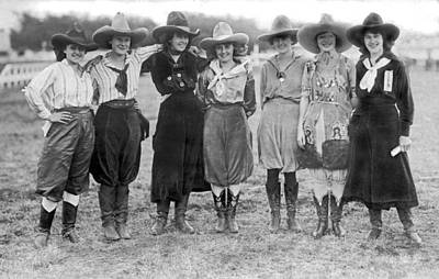 Cowgirl Photograph - The Cheyenne Rodeo Roundup Cowgirls by Underwood Archives
