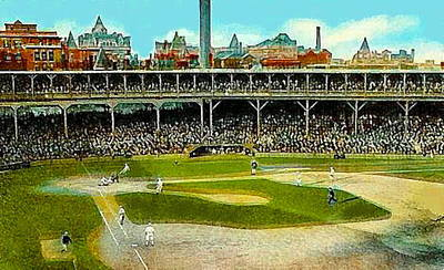 Chicago Cubs Painting - The Chicago Cubs West Side Grounds Stadium In 1913 by Dwight Goss