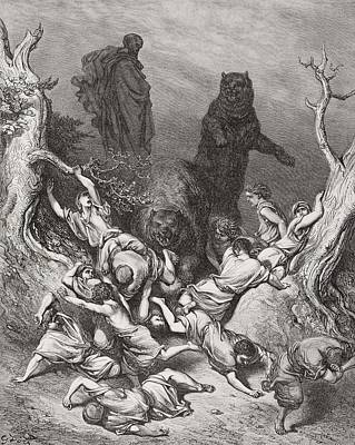 The Children Destroyed By Bears Print by Gustave Dore