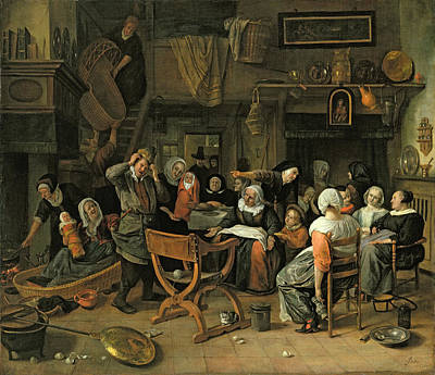 Baby Wool Photograph - The Christening Feast, 1668 Oil On Canvas by Jan Havicksz. Steen