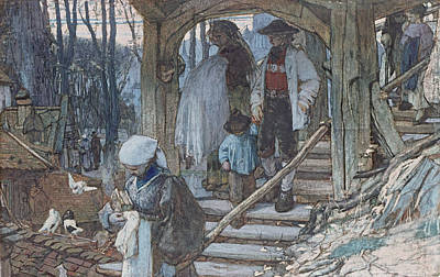 Pigeon Drawing - The Christening Gate In Lausanne, C.1861 by Matthijs Maris
