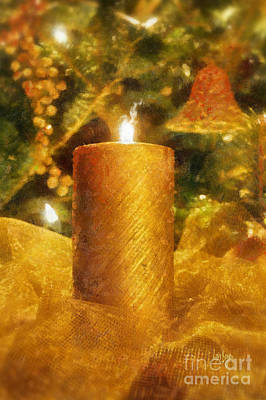 Flame Light Digital Art - The Christmas Candle by Lois Bryan