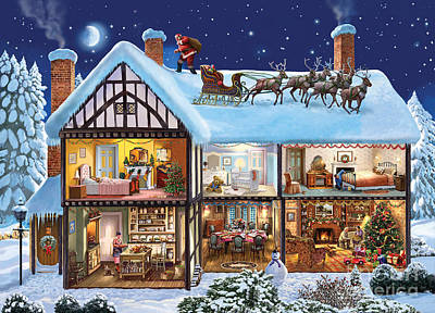 Snowy Night Digital Art - Christmas House by Steve Crisp