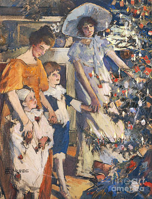 Adela Painting - The Christmas Tree by Elizabeth Adela Stanhope Forbes