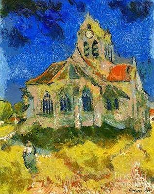 Wall Painting - The Church At Auvers After Van Gogh by Dragica  Micki Fortuna
