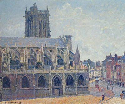 The Church Of St Jacques In Dieppe Print by Camille Pissarro