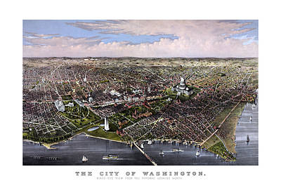 Washington Monument Mixed Media - The City Of Washington Birds Eye View by War Is Hell Store
