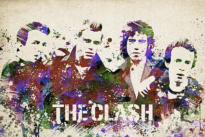 Punk Drawing - The Clash Portrait by Aged Pixel