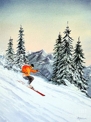 Skiing Action Painting - The Clear Leader by Bill Holkham