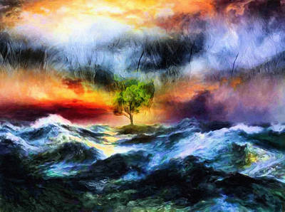 Drama Mixed Media - The Clearing Of The Flood by Georgiana Romanovna