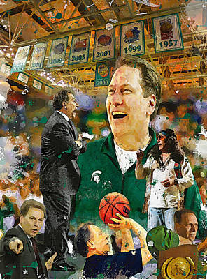 Michigan State Painting - The Coach Tom Izzo by John Farr