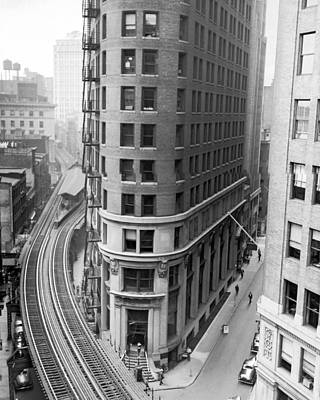 Train Tracks Photograph - The Cocoa Exchange Building  by Underwood Archives