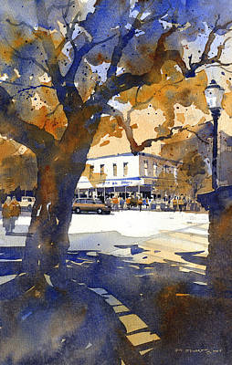 Watercolor Painting - The College Street Oak by Iain Stewart