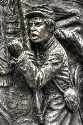 The Color Sergeant.  State Of Delaware Monument Detail-g Gettysburg Autumn Mid-day. Print by Michael Mazaika