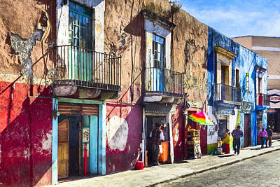 The Colorful Streets Of Puebla Mexico Print by Mark E Tisdale