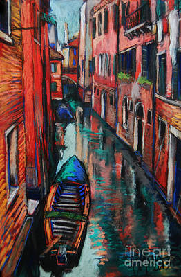 Boats In Water Painting - The Colors Of Venice by Mona Edulesco