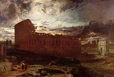 Torch Painting - The Colosseum, Rome, 1860 by Frederick Lee Bridell