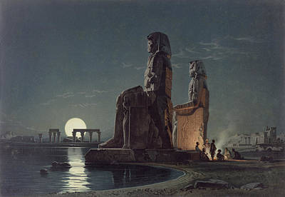 New Moon Drawing - The Colossi Of Memnon, Thebes, One by Carl Friedrich Heinrich Werner