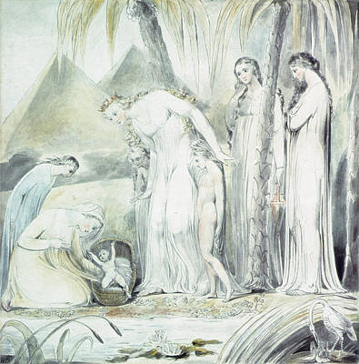 Stork Drawing - The Compassion Of Pharaohs Daughter Or The Finding Of Moses by William Blake