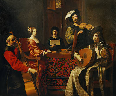 The Concert Oil On Canvas Print by Nicolas Tournier