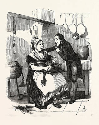 Carrot Drawing - The Cook And Her Admirer In The Kitchen, Cleaning A Goose by French School