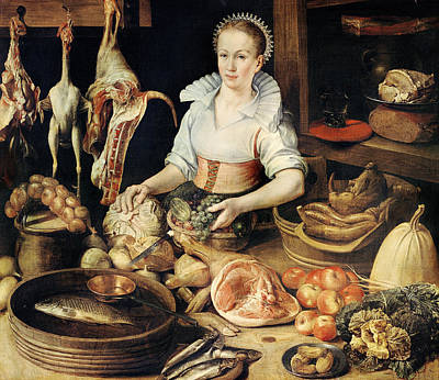 Cabbage Painting - The Cook by Pieter Cornelisz van Rijck