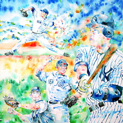 Derek Jeter Painting - the CORE FOUR - watercolor portrait.2 by Fabrizio Cassetta
