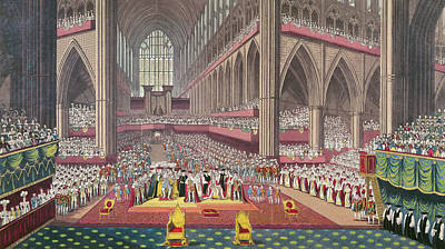 Westminster Abbey Photograph - The Coronation Of King William Iv And Queen Adelaide, 1831 Colour Litho by English School